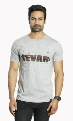 ALBITEN Printed Men's Round Neck Grey T-Shirt
