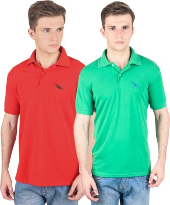 PRO Lapes Solid Men's Polo Neck Red, Green T-Shirt