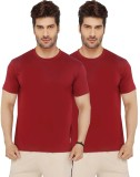 Live In Solid Men's Round Neck Red T-Shi...