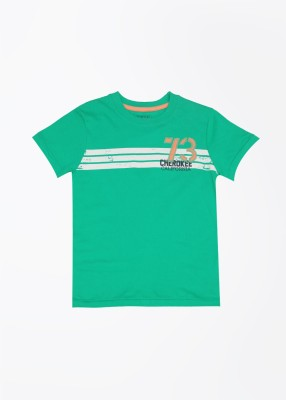 Cherokee Kids Printed Boy's Round Neck Green T-shirt