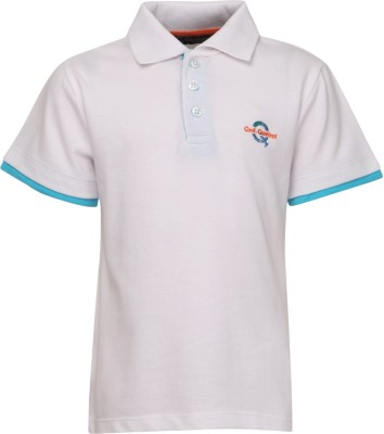 Cool Quotient Solid Boy's Polo Neck White T-Shirt