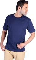 Humbert Solid Men's Round Neck Dark Blue T-Shirt