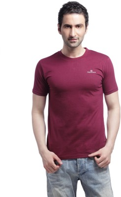 Cross Creek Solid Men's Round Neck Maroon T-Shirt