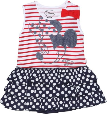 Mickey & Friends Printed Girl's Round Neck Red T-Shirt