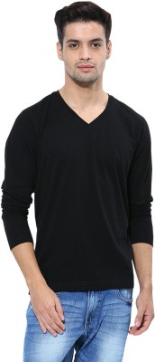 Softwear Solid Men's V-neck Black T-Shirt