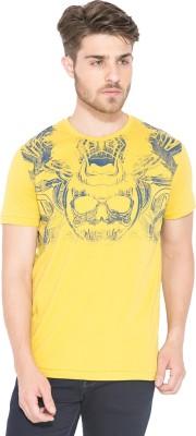 Status Quo Graphic Print Men's Round Neck Yellow T-Shirt