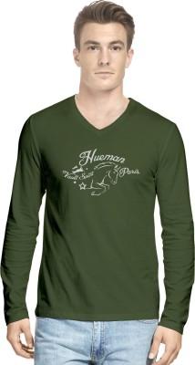 Hueman Printed Men's V-neck Dark Green T-Shirt