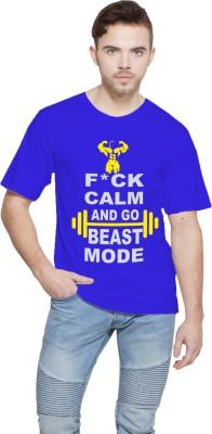 Shopping Monster Printed Men,s Round Neck Blue T-Shirt