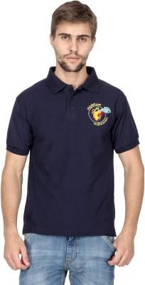 Aziteez Solid Men's Flap Collar Neck Blue T-Shirt