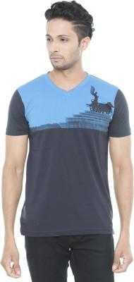 Wexford Printed Men's V-neck Blue T-Shirt