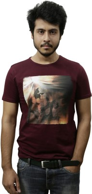 Gypsy Soul Graphic Print Men's Round Neck Maroon T-Shirt
