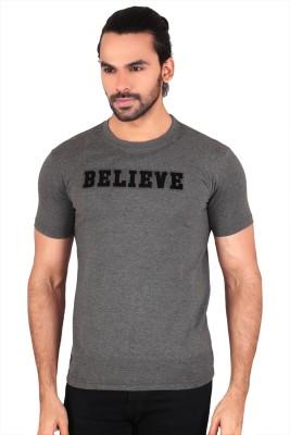 Anger Beast Printed Men's Round Neck Grey T-Shirt