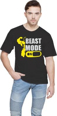 Shopping Monster Printed Men,s Round Neck Black T-Shirt