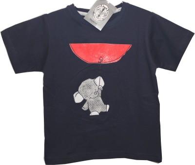 Hussky Printed Boy's Round Neck Dark Blue T-Shirt