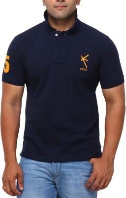 Yross Solid Men's Polo Neck Dark Blue T-Shirt