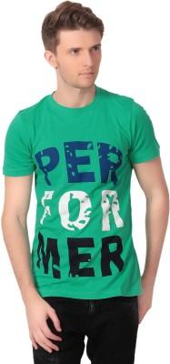 Howzat Printed Men's Round Neck Green T-Shirt