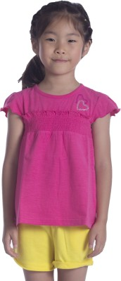 Sera Solid Girl,s Round Neck Pink T-Shirt