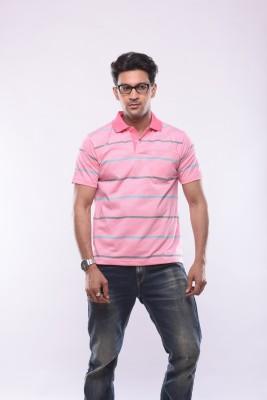 SHAYAN EXPORT Printed Men's Flap Collar Neck Pink T-Shirt