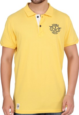 Stoke Solid Men's Polo Neck Yellow T-Shirt