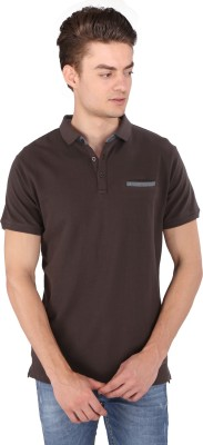 Caricature Solid Men's Polo Neck Brown T-Shirt