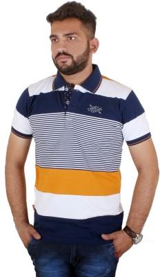 MjString Striped Men's Flap Collar Neck Orange T-Shirt