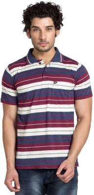 YOO Striped Men's Polo Neck Maroon T-Shirt