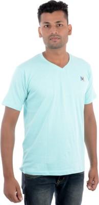 Moladz Solid Men's V-neck Light Green T-Shirt