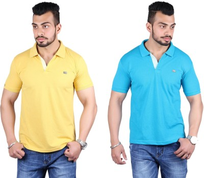 Shineway Solid Men's Polo Neck Gold, Light Green T-Shirt