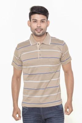 Gleneagles Striped Men's Polo Neck Beige T-Shirt