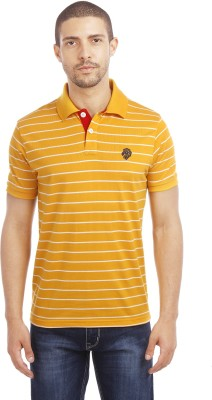 Leo Striped Men's Polo Neck Yellow T-Shirt