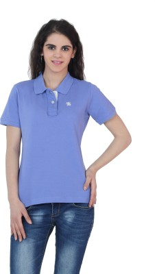 The Cotton Company Solid Women's Polo Neck Blue T-Shirt