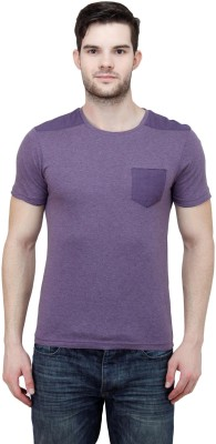 Jprana Solid Men's Round Neck Purple T-Shirt