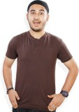 Evermore Stores Solid Men's Henley Brown...