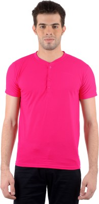 Gdivine Solid Men's Henley Pink T-Shirt