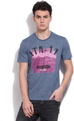 Fila Printed Mens Round Neck Dark Blue T-Shirt