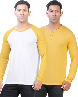 Click Hit Solid Men's Round Neck White, Yellow T-Shirt