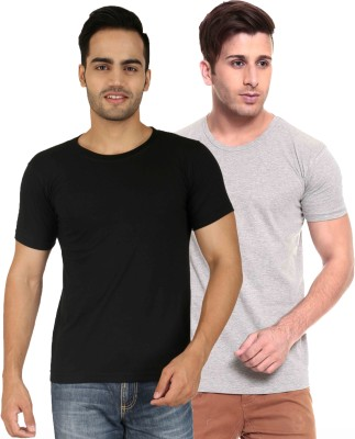 Faded Finch Solid Men's Round Neck Black, Grey T-Shirt