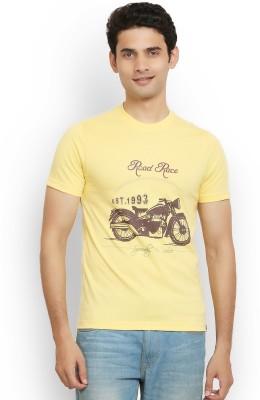 Police Printed Men's Round Neck Yellow T-Shirt