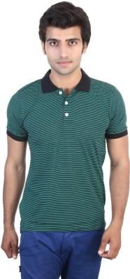 Shra Striped Men's Polo Green, Black T-Shirt