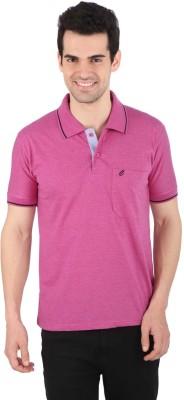 Illicit Nation Solid Men's Flap Collar Neck Pink T-Shirt