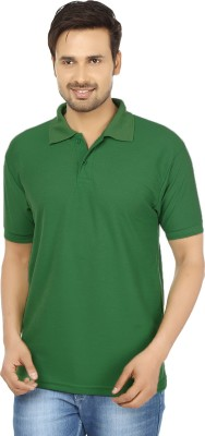 Forever19 Solid Men's Polo Neck Green T-Shirt