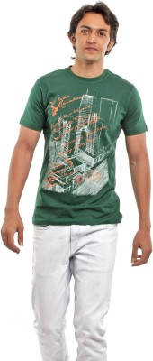 BG69 Graphic Print Men's Round Neck Green T-Shirt