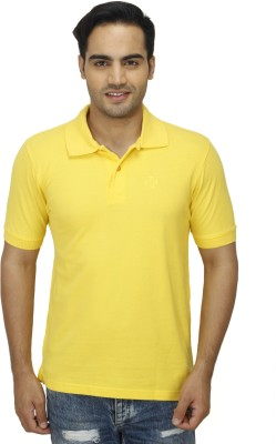 Zista Solid Men's Polo Yellow T-Shirt