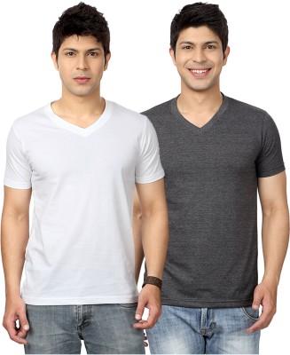 Top Notch Solid Men's V-neck White, Grey T-Shirt