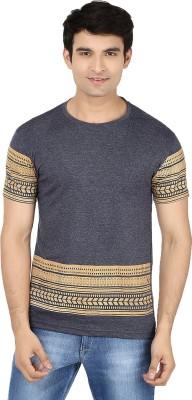 Minute Merge Printed Men's Round Neck Grey, Orange T-Shirt