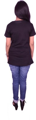 Himgiri Printed Women's Round Neck Black T-Shirt