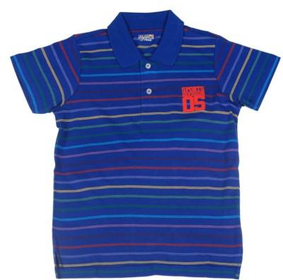 People Striped Boy's Polo Blue T-Shirt