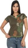 Eimoie Solid Women's Fashion Neck Green ...