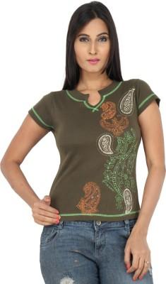 Eimoie Solid Women's Fashion Neck Green T-Shirt