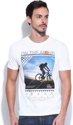 Lee Printed Men's Round Neck White T-Shirt